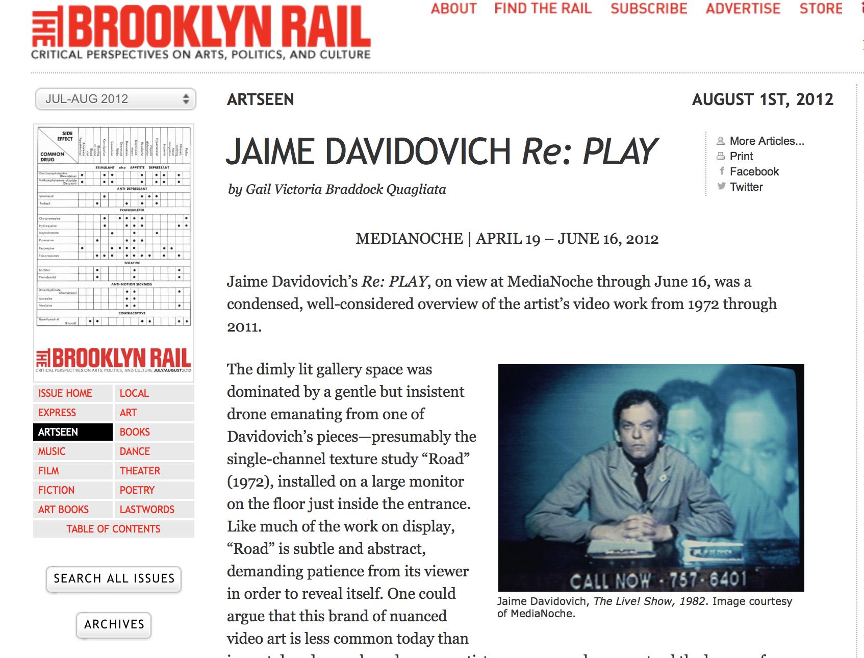 Jaime davidovich Re: Play - The Brooklyn Rail - August 1st, 2012