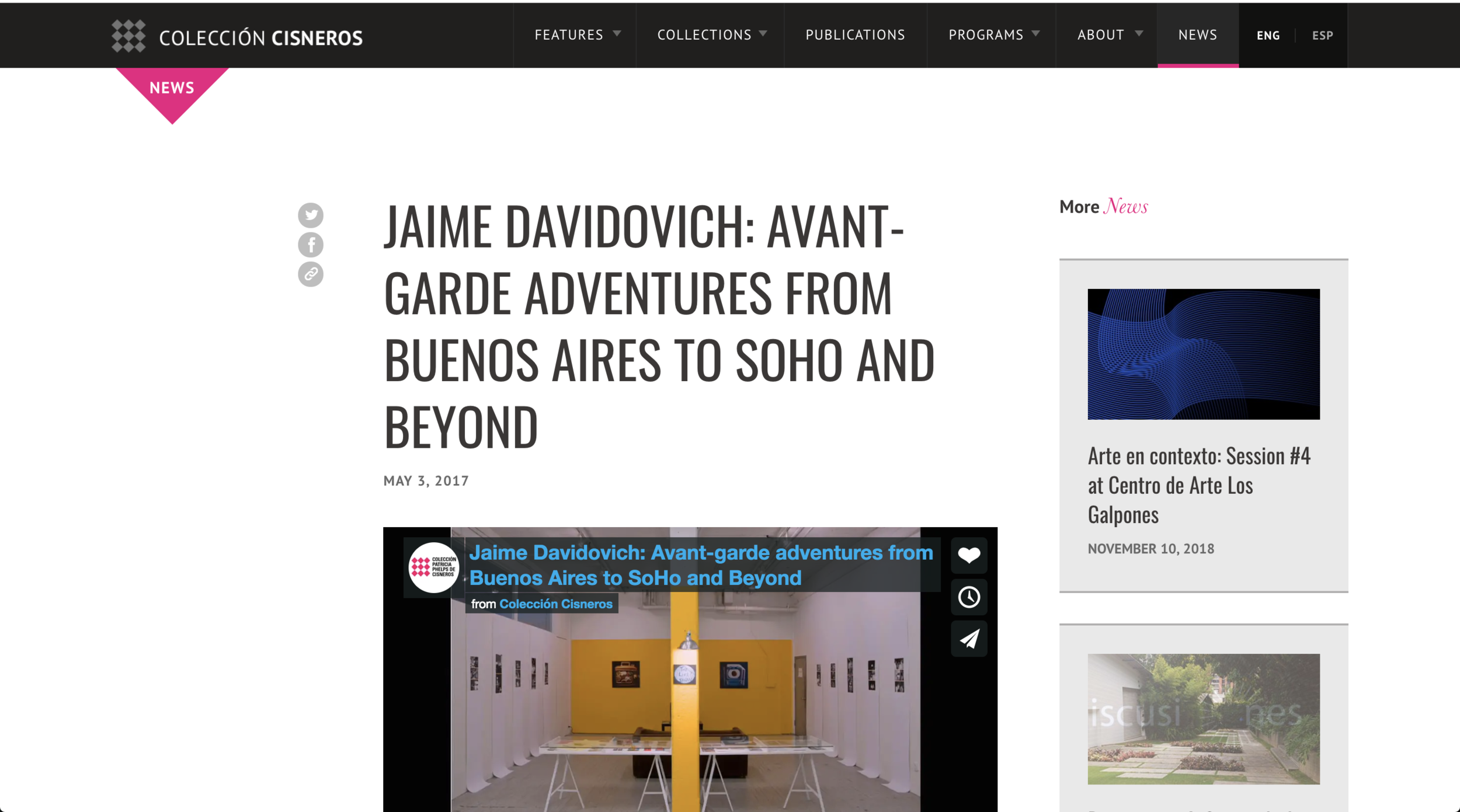 "JAIME DAVIDOVICH: AVANT-GARDE ADVENTURES FROM BUENOS AIRES TO SOHO AND BEYOND - Colección Cisneros - May 3rd, 2017""To celebrate the release of the book Jaime Davidovich in conversation with/en conversación con Daniel R. Quiles, the Colección Patricia Phelps de Cisneros (CPPC) and Institute for Studies on Latin American Art (ISLAA) will present the panel discussion Jaime Davidovich: Avant-Garde Adventures from Buenos Aires to SoHo and Beyond, related to the publication at The Museum of Modern Art's Celeste Bartos Theater."""