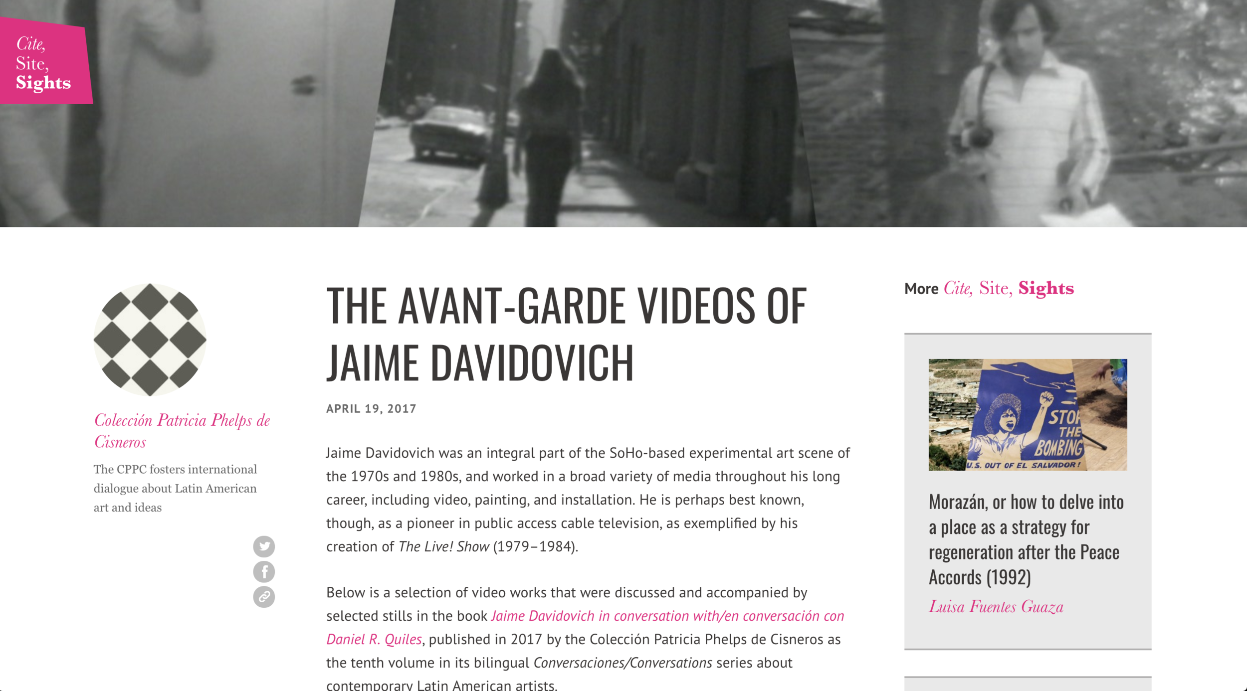 "THE AVANT-GARDE VIDEOS OF JAIME DAVIDOVICH - Colección Cisneros - April 19th, 2017""Jaime Davidovich was an integral part of the SoHo-based experimental art scene of the 1970s and 1980s, and worked in a broad variety of media throughout his long career, including video, painting, and installation. He is perhaps best known, though, as a pioneer in public access cable television, as exemplified by his creation of The Live! Show (1979–1984)."""