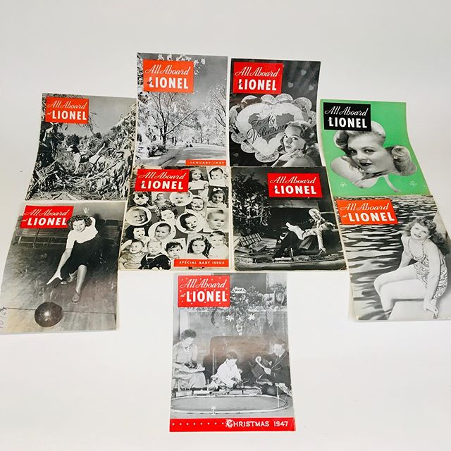 """All Aboard at Lionel"" magazines from the late 1940s and early 1950s. This was the company magazine that provided info about mock-ups and prototypes, production lines, Lionel executives, employees and their families. Fascinating look back through time!"
