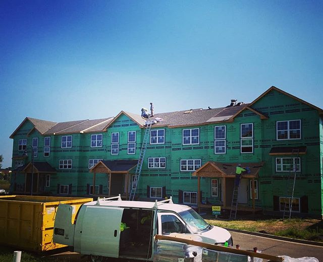 Roofers are finishing up this roof so the siders can start their part next week. Busy day for Fulsaas Exteriors.