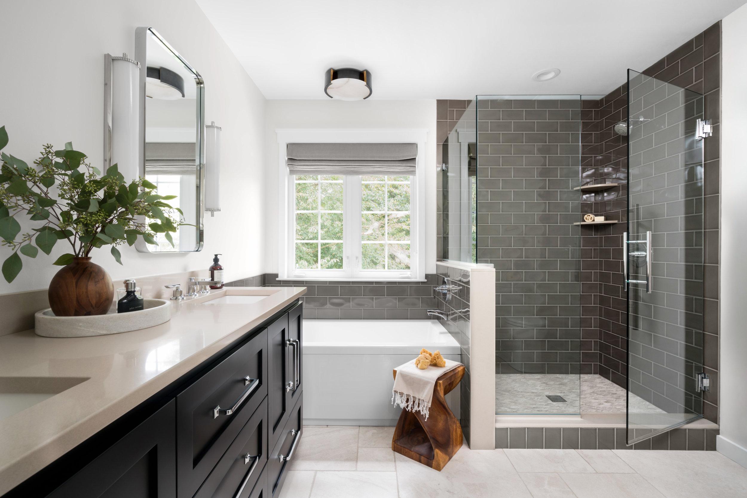 AFTER: Natural stone, tone-on-tone, spa-like master bathroom.
