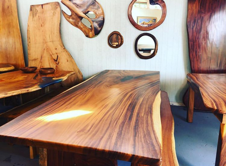 Monkeypod mirrors and tables by    Woodworking Hawaii