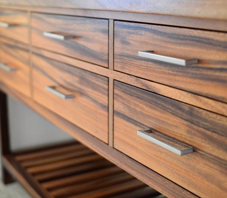 Custom Monkeypod vanity by Satoshi Yamauchi Furniture