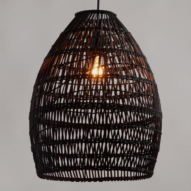Black woven pendant light from World Market