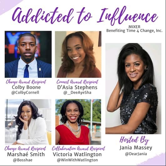 Mark your calendars for 9/21 & grab your tickets to #AddictedToInfluence!  This #PartyForPurpose event will feature special guests, networking, 🥂 & good vibes! If you're a millennial in Charlotte, you don't want to miss it. -Hosted By @dearjania -Music by @tramarethedj  Benefiting @time4changeinc • #time4change #t4c #community #nonprofit #partyforapurpose #partywithapurpose #clt  #704 #843 #girlboss #millennials #womeninbusiness #cltprofessionals #Charlotteprofessionals #CLTParties #cltinfluencer #ATI2019