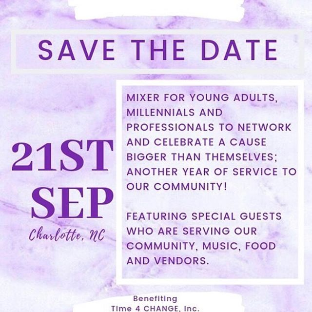 Don't forget to purchase your ticket and join us at this #PartyForPurpose celebrating 5 years of service for #time4change  Mix and mingle , enjoy a cash bar, food, vendors, & raffles!  #time4change #CLTparties #t4c #community #nonprofit #704 #803 #blackgirlmagic #millennials #empowerment #girlboss #womeninbuisness #cltbloggers #womenbloggers