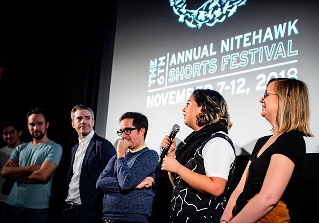 Another shout out to @nitehawkcinema and all the beautiful people at the Nitehawk Shorts Fest. 📷 - @gabiporter thanks for encouraging my shenanigans on the step and repeat. 💕