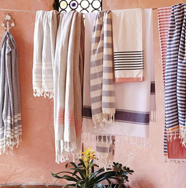 Turkish towels - lightweight, absorbent and easy to dry - nothing quite says summer at the beach like them. You can buy them in a variety of styles and colours of the rainbow and as you can see, they look amazing hanging up to dry too!  #trendtuesday #home #homedecor #design #trendanddesign #fabric #textiles #decor #beauty #trend #lifestyle #interior #interiordecor #colours #comfort #cozy #aesthetic #inspiration #instadaily #towels #summer #beach