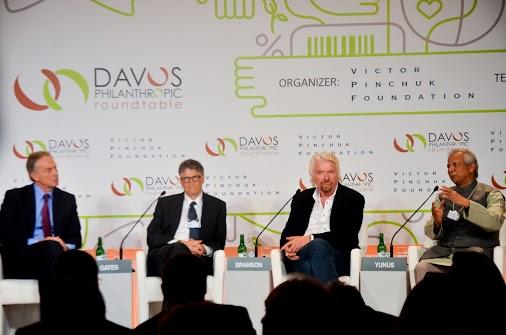 Grameen America Board Chair Professor Yunus speaks at Davos Philanthropic Roundtable