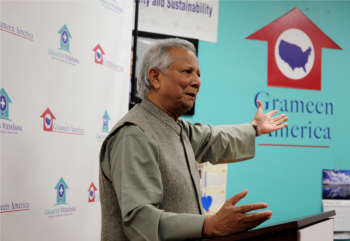 Professor Muhammad Yunus,Grameen America Board Chairman and Co-Founder of Grameen PrimaCare, announces the co-location in Queens, NY.