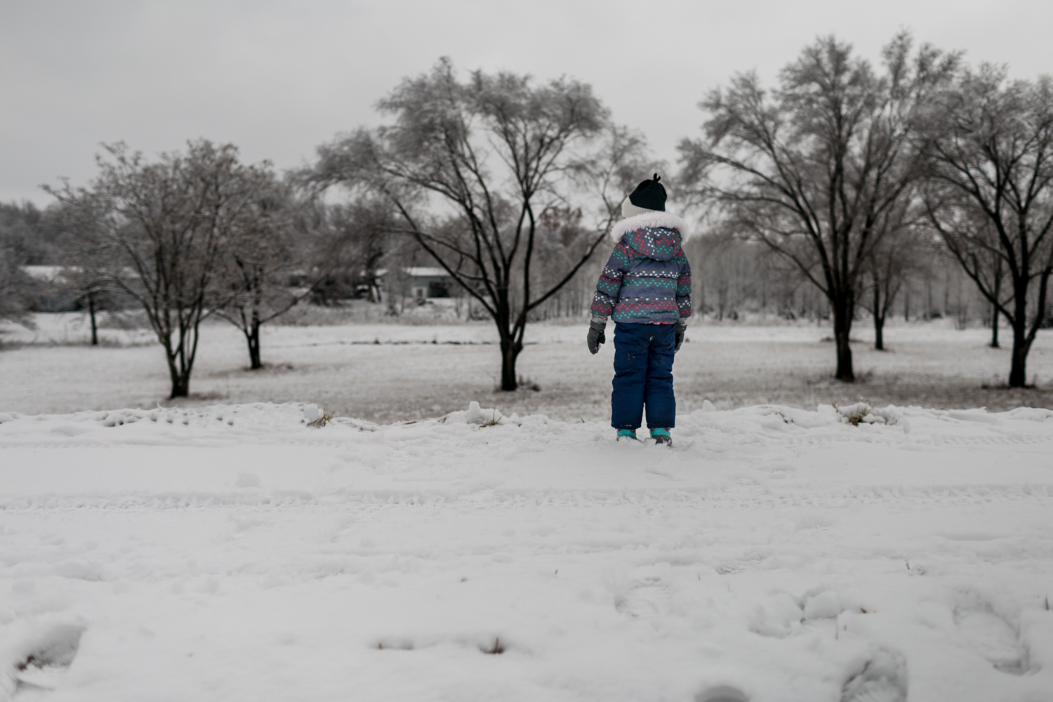 Playing in the snow. Captured by best Lifestyle Family Photographer, Renee McDaniel in Manhattan, Kansas.