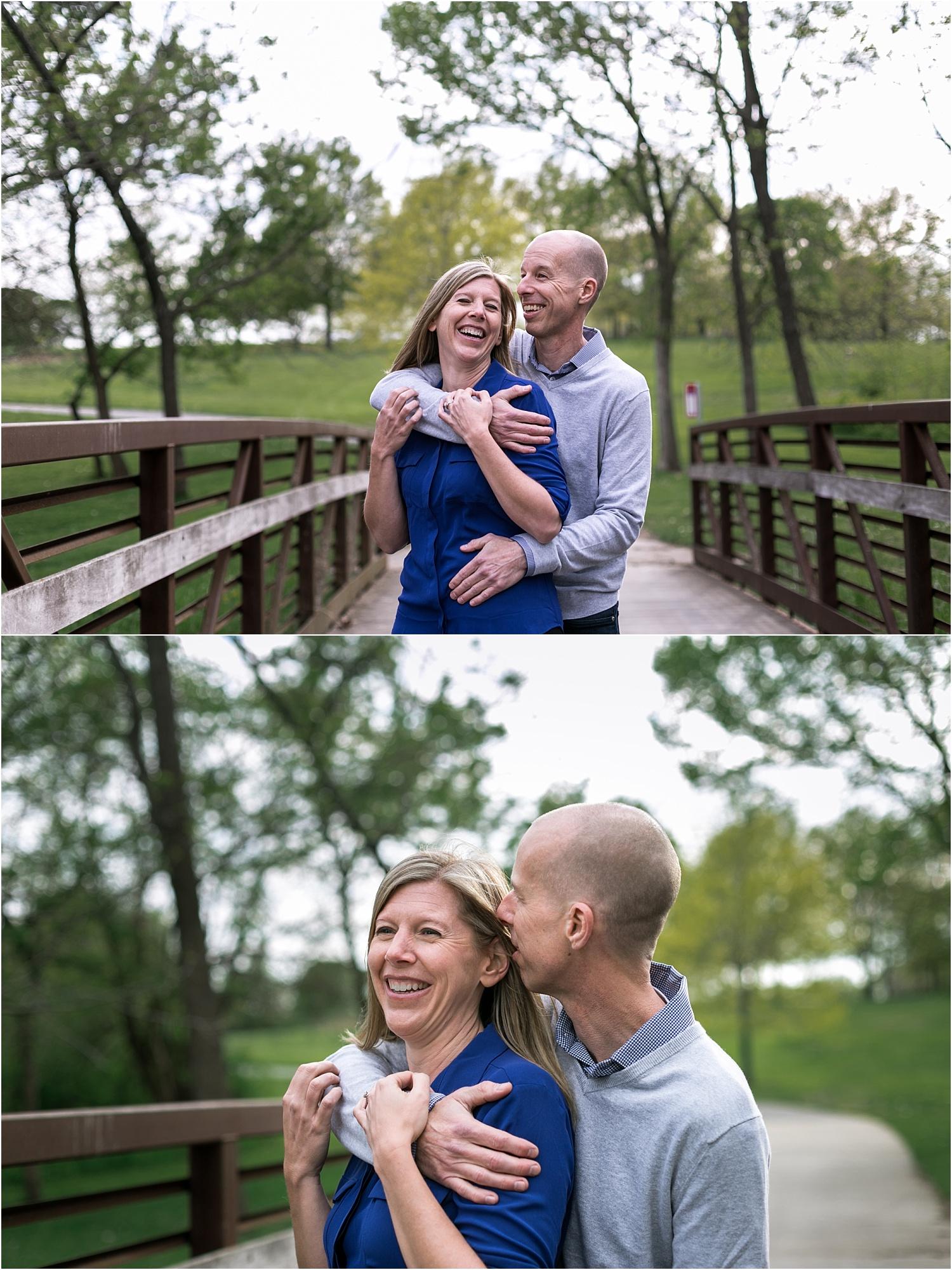 Engagement Photography Couple laughing together Heritage Park Bridge Olathe Kansas