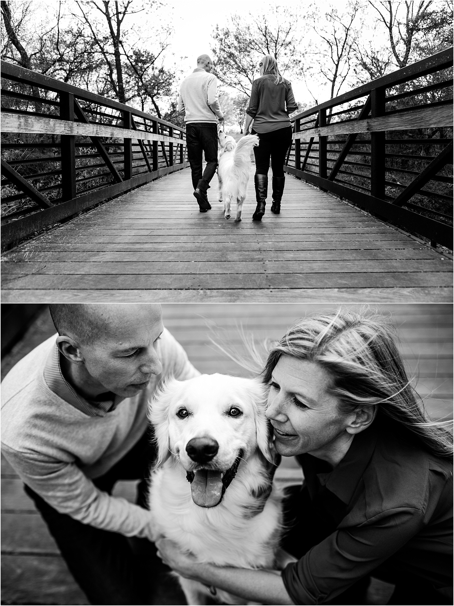 Engagement Photography Couple with their Golden Retriever Dog at Heritage Park Bridge in Olathe Kansas
