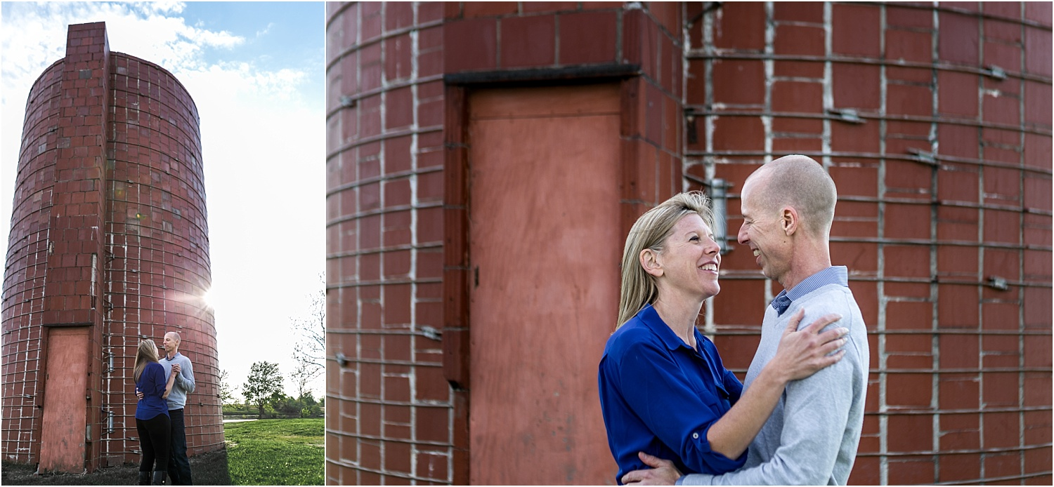 Engagement Photography session where the bride and groom are laughing and dancing at the Heritage Park Silo in Olathe Kansas