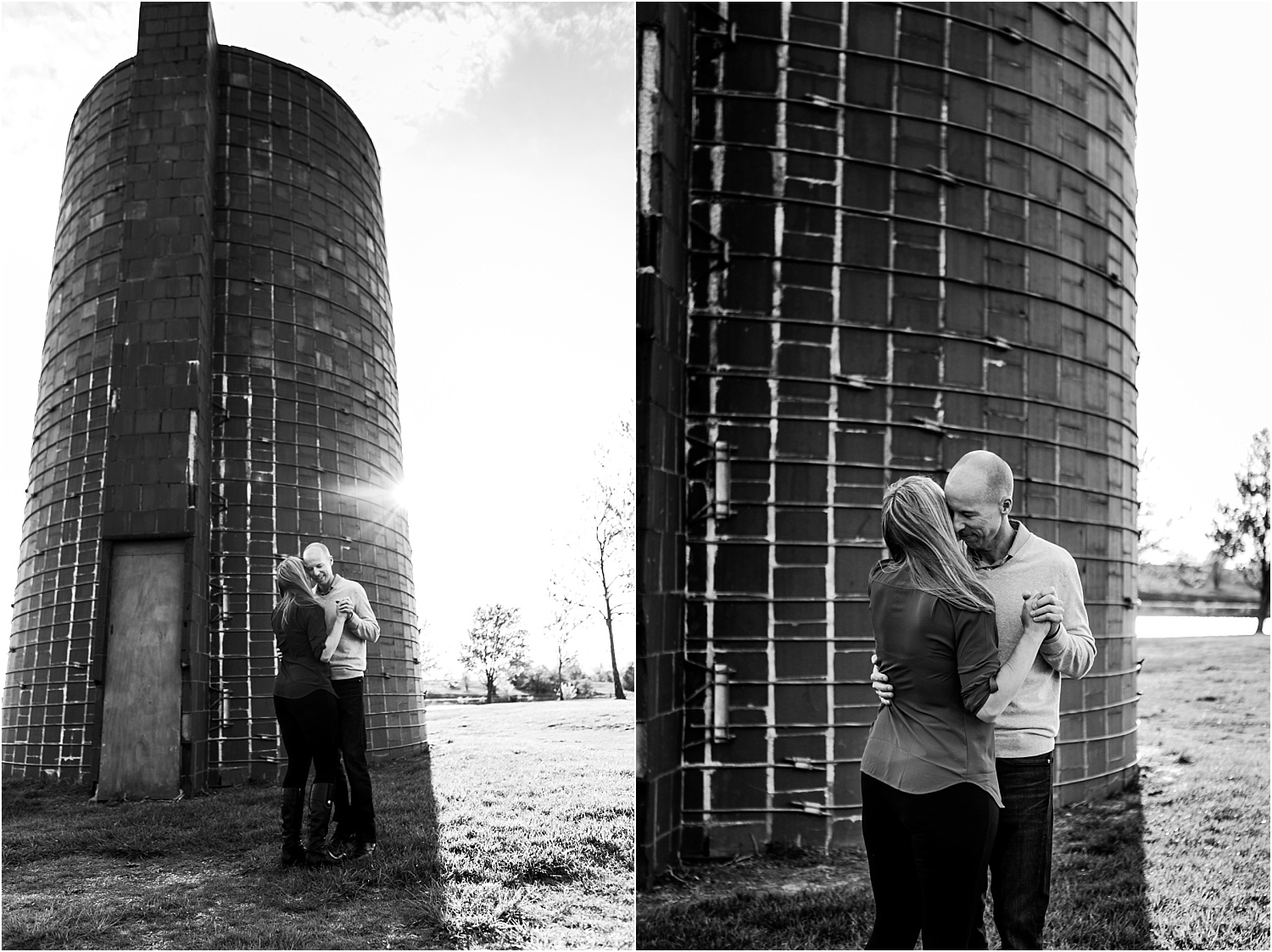 Engagement Photography, bride and groom dancing at the Heritage Park Silo in Olathe Kansas