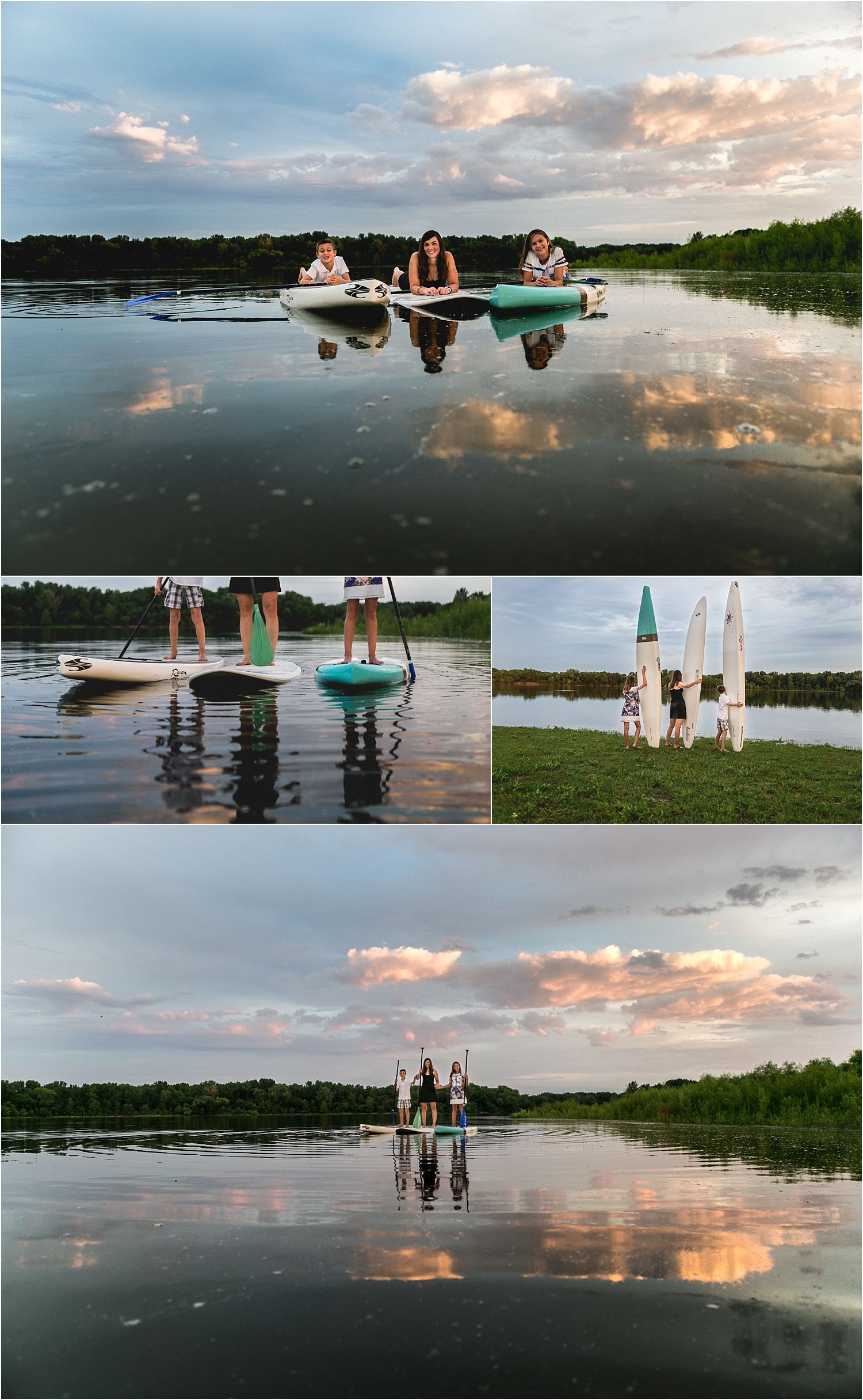 Family Lifestyle Photography with Stand Up Paddle Boards at sunset at Tuttle Creek Lake Manhattan KS