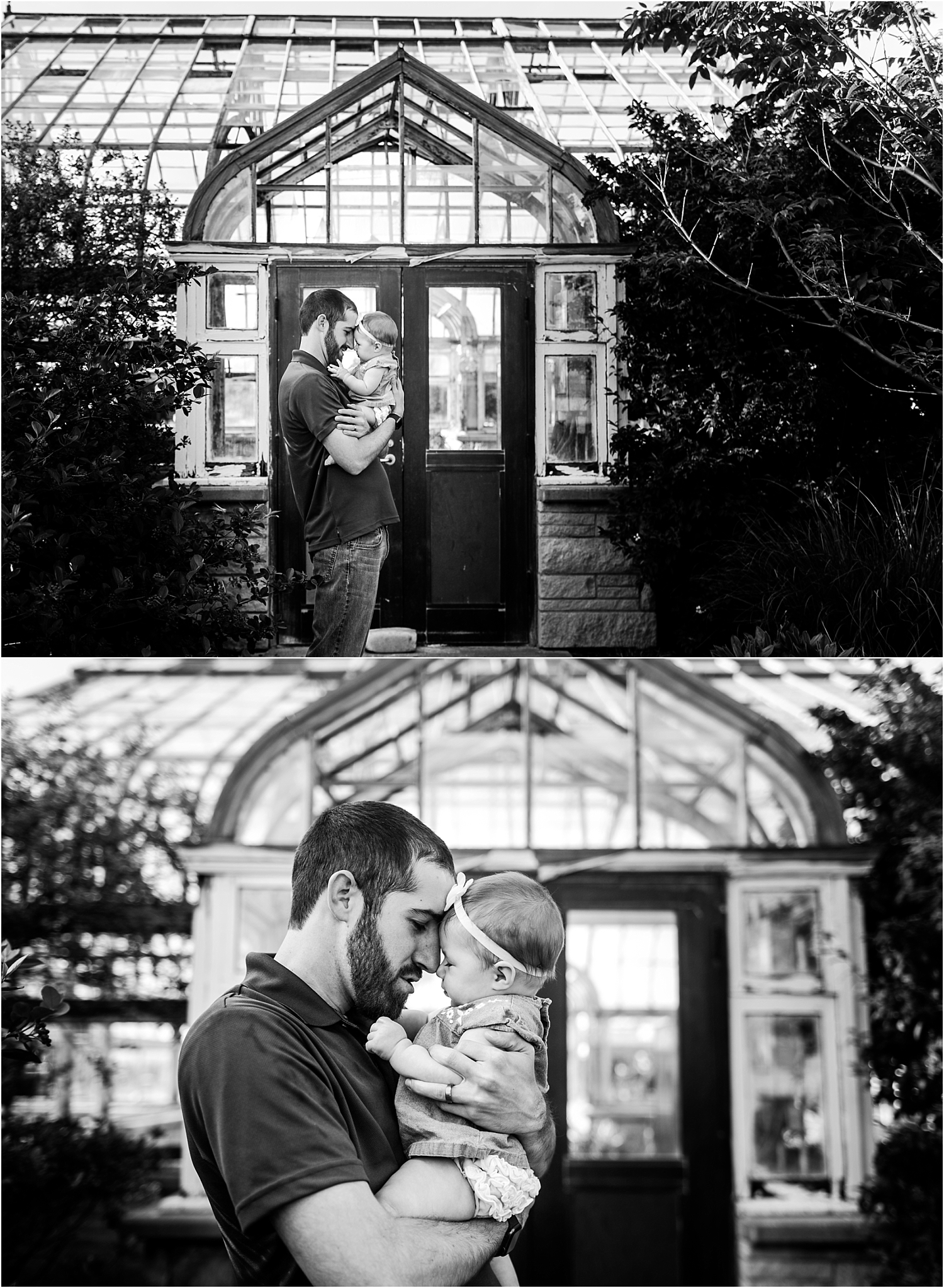 Father and Baby Lifestyle Photography at K-State Gardens Manhattan Kansas