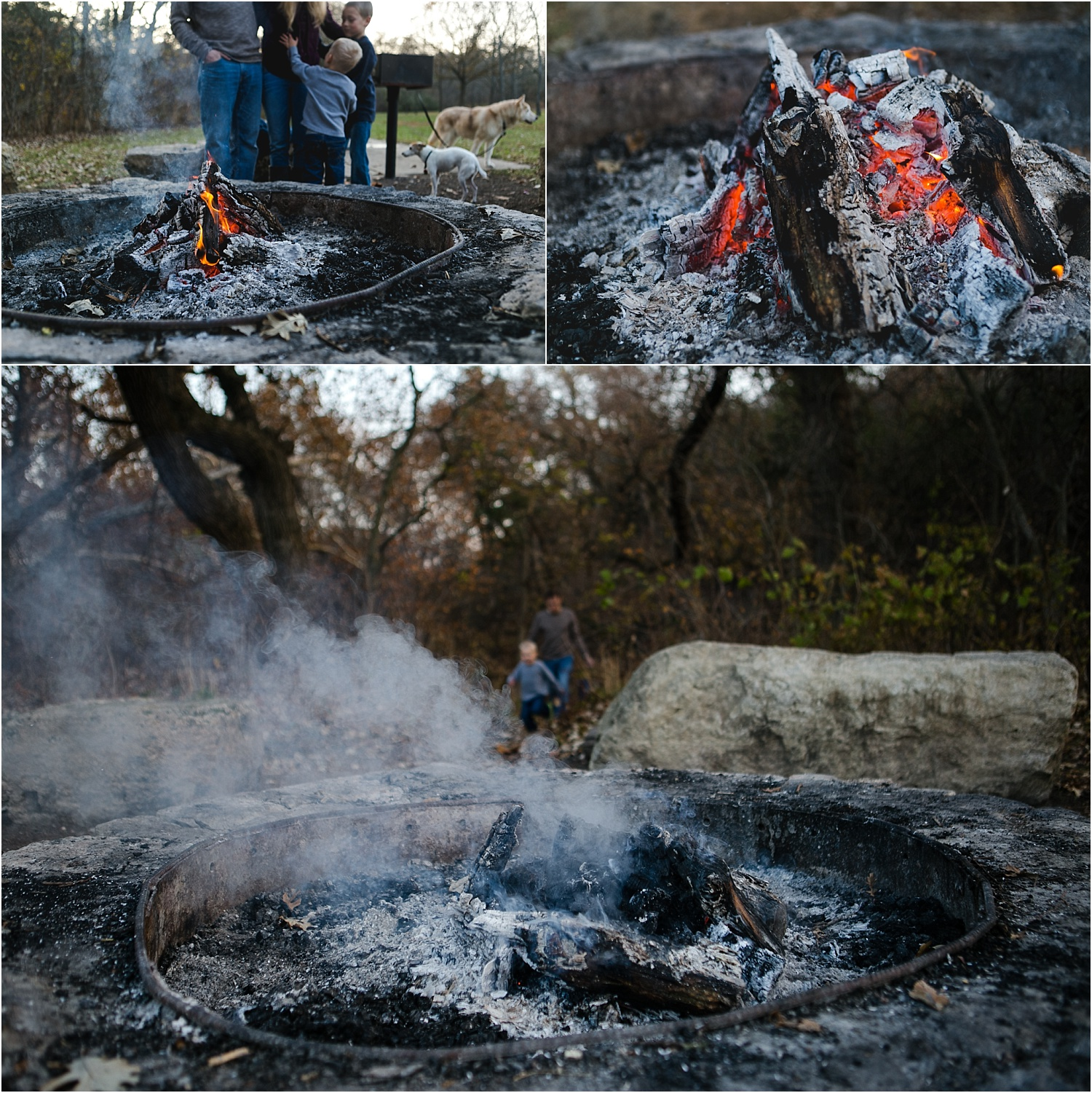 Family Lifestyle and Documentary Photography-putting out fire in firepit-Wildcat Park-Manhattan Kansas
