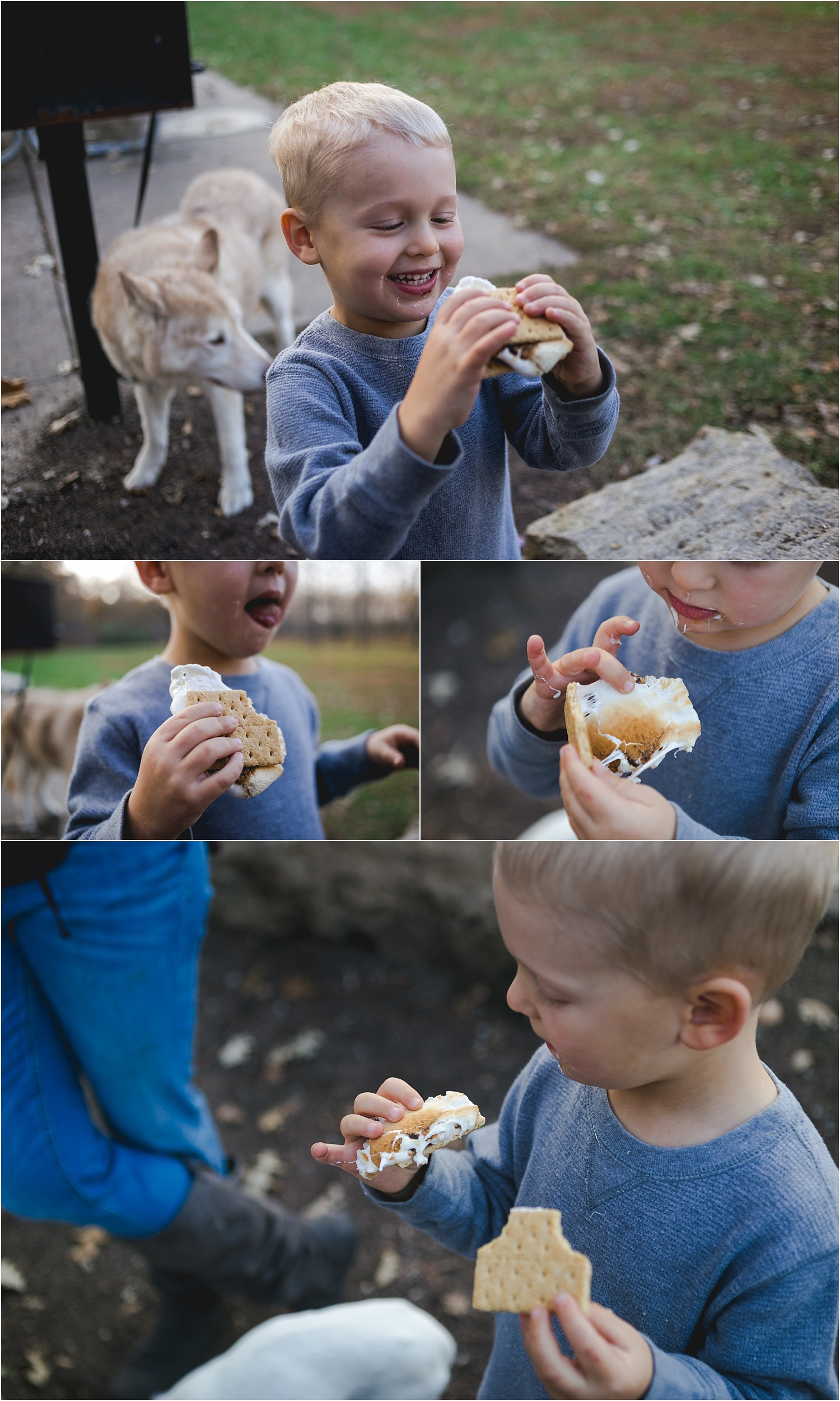 Family Lifestyle and Documentary Photography-child eating s'mores-Wildcat Park-Manhattan Kansase