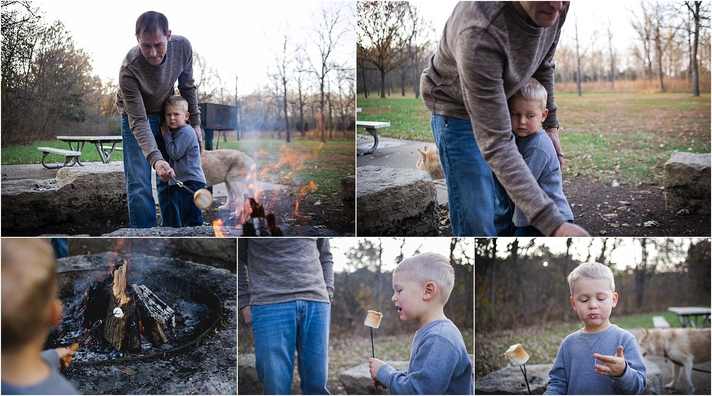 Family Lifestyle and Documentary Photography-family eating roasted marshmallows-Wildcat Park-Manhattan Kansas
