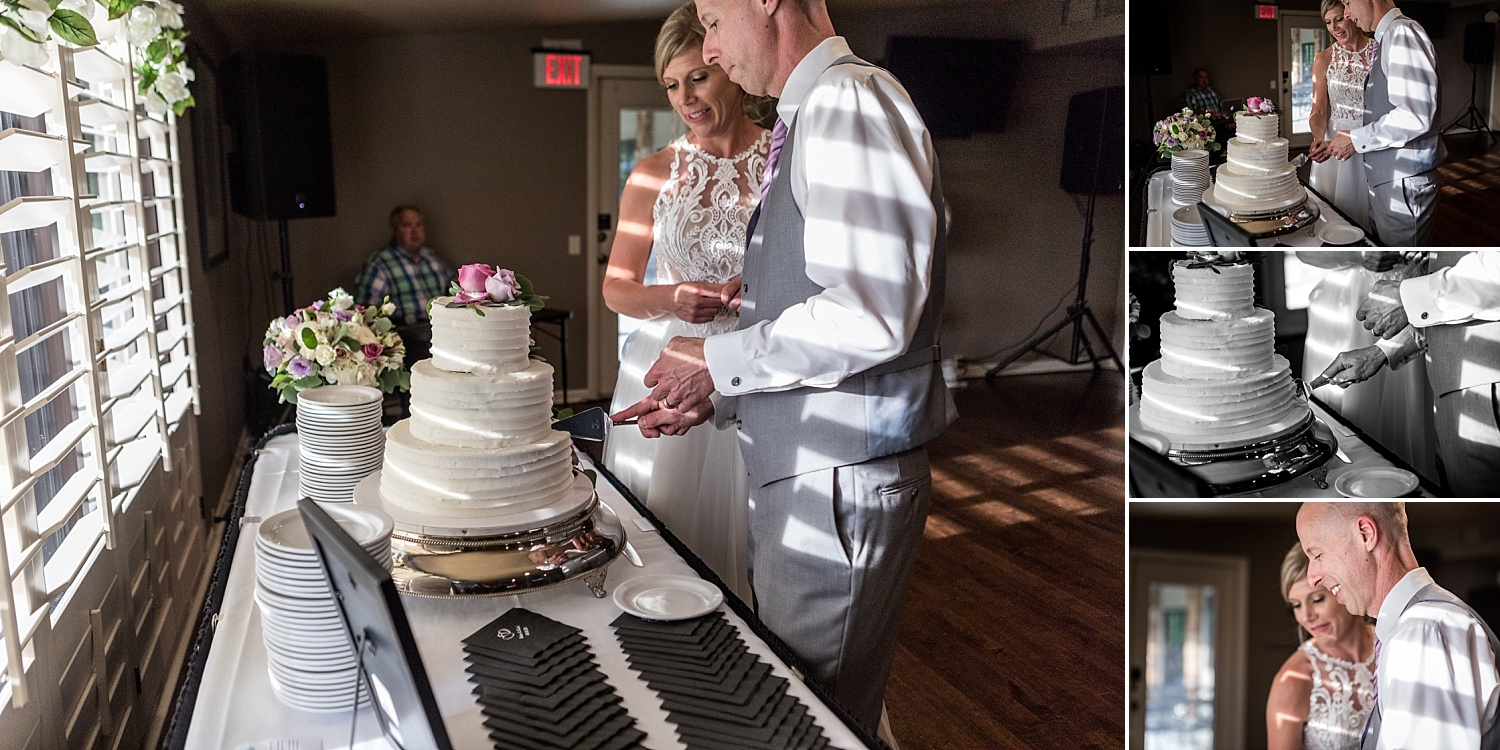 Intimate-Wedding-Photography-reception-cutting-the-cake-Crestwood-Country-Club-Pittsburg-KS