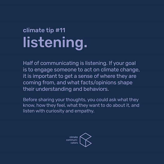 Our latest #ClimateTip on how to have positive and constructive conversations about climate change that lead to 👉ACTION  Scroll down our feed for Tips #1-10! And feel free to DM us if you want to add to them or if you disagree.  #climatechange #climatecrisis #climateemergency #climatejustice #climatestrike #climate #sustainability #climatecommunication #green