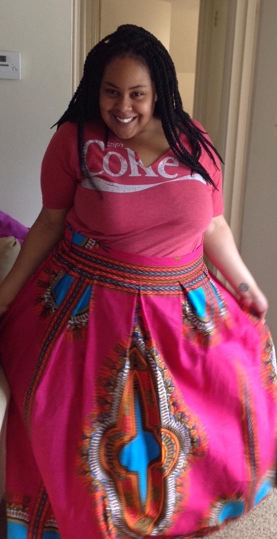 Dashiki skirt. Everyone who wears one looks this happy. -