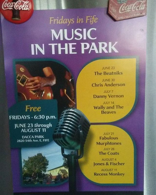Looking to enjoy a free concert in the park and some delicious Arnold's grub ... We will be at Fife's Dacca Park this Friday! Come join us for a rockin night!