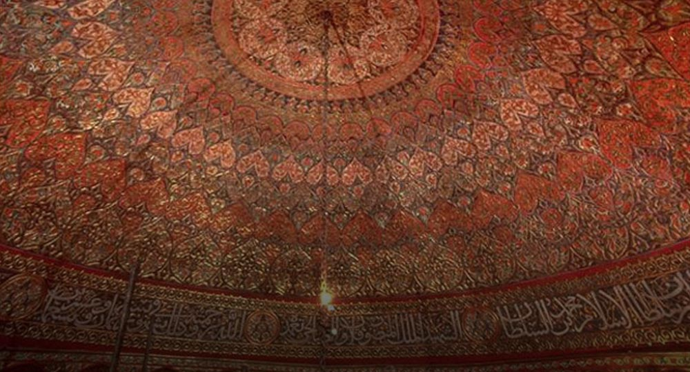 Detail of the painted dome of the Al Aqsa Mosque, Jerusalem, after the restoration of 1981 to 1983.