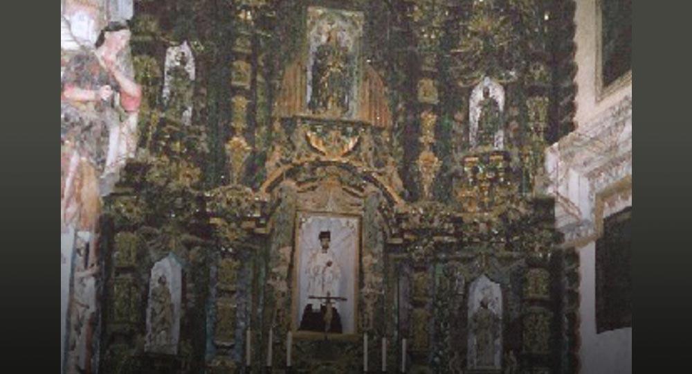 San Xavier Del Bac, main alter before restoration, 1994, Tucson, AZ.