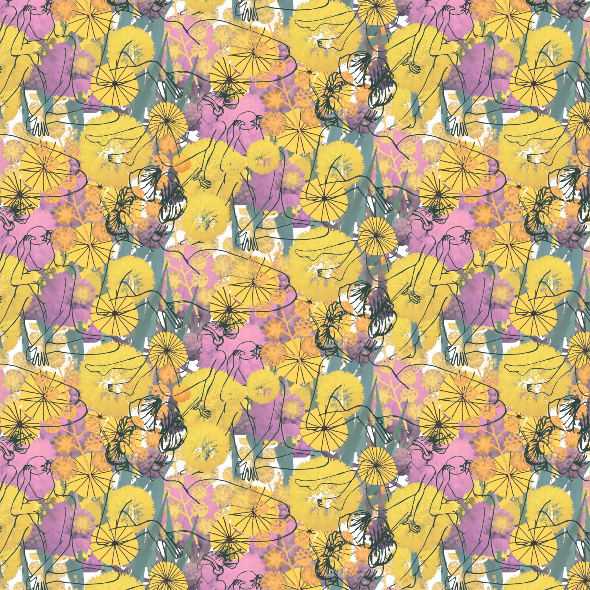 Shady Ladies | digitally editing background with hand drawn motifs