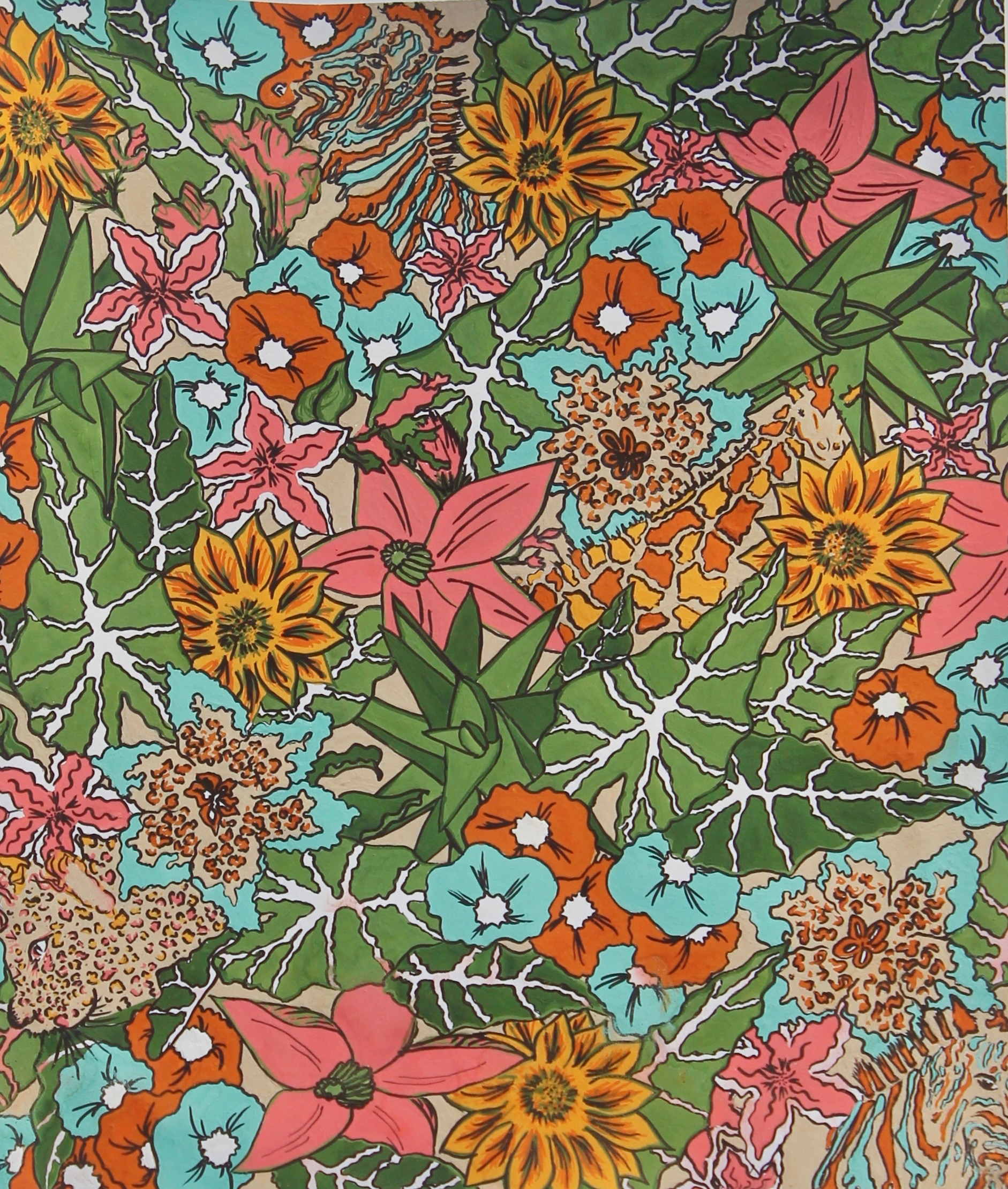 Safari Soiree | a playful take on a liberty floral with vivid color and animals. Windsor Newton Gouache and micron pens.