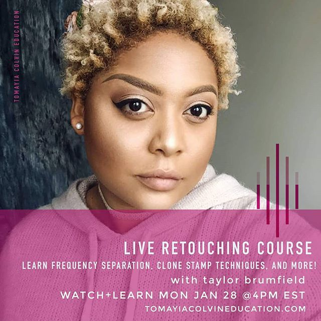 Join us live at 4PM EST with Taylor Brumfield as she does live retouching of an image.  She'll be featuring the following tools: Frequency Separation, clone tool, mixer brush, liquify, smart sharpen, dodge and burn (using both the dodge and burn tools as well as a white and black paintbrush), color grading layers.  To join us live, register at the link below!  https://tomayia-colvin-education.teachable.com/p/live-retouching-with-taylor-brumfield