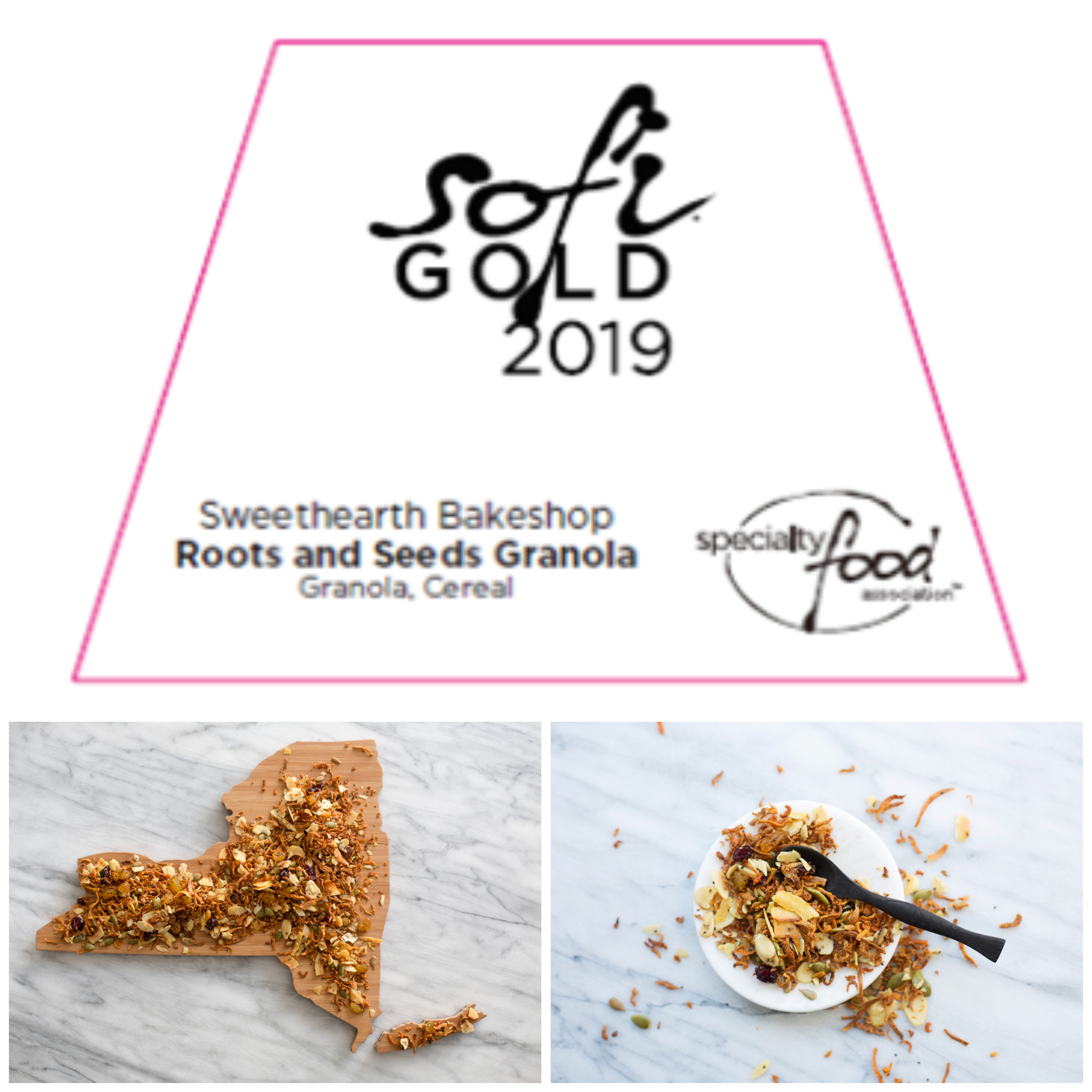 WE WON GOLD! - Our ROOTS AND SEEDS is taking home the 2019 Specialty Food Association SOFI Gold Award in the Cereal+Granola Category