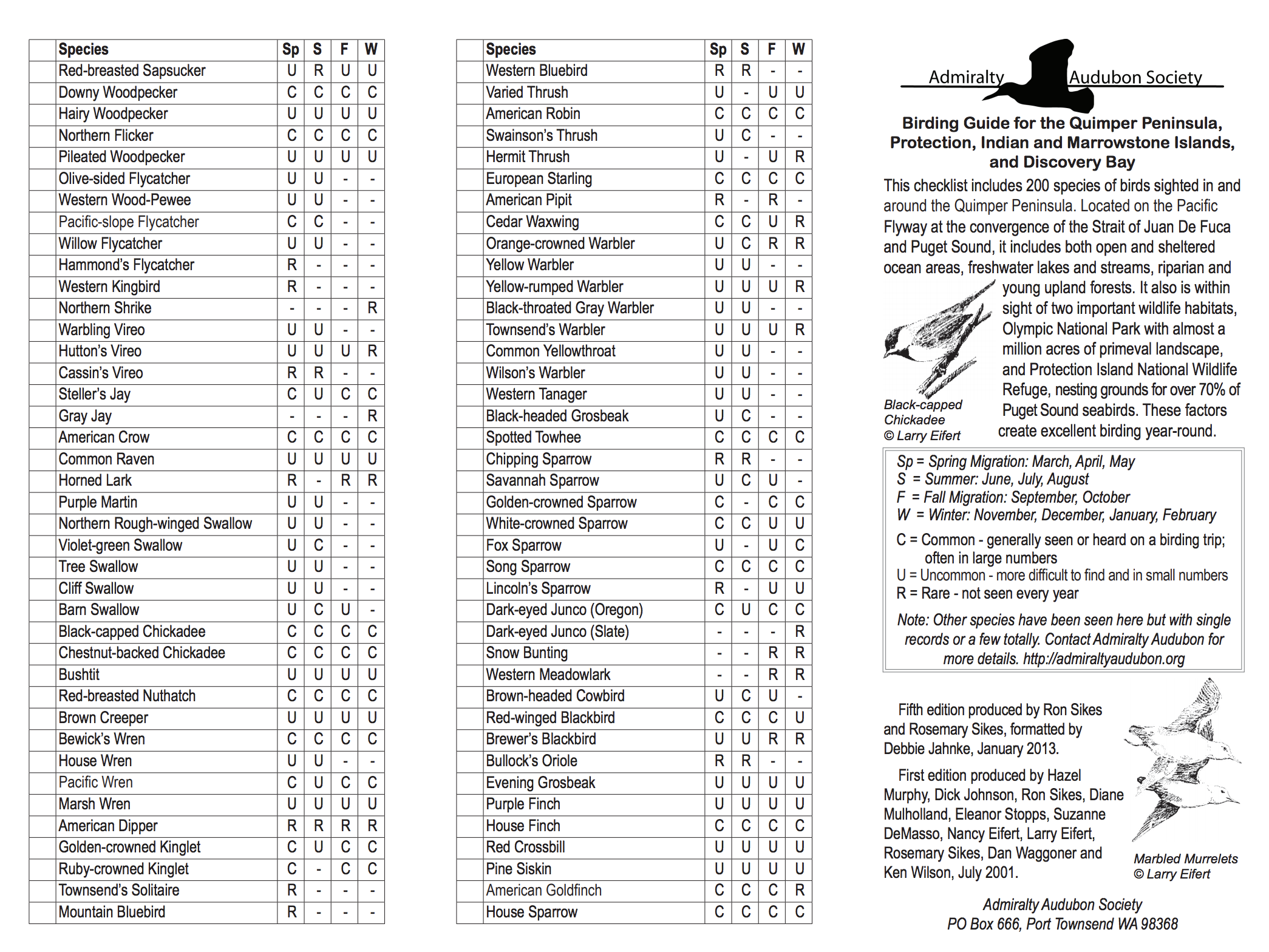 Bird Checklist - Birding Guide to the Quimper Peninsula, Protection, Indian, and Marrowstone Islands, and Discovery Bay.