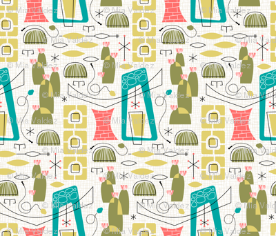 This textile pattern was designed by Mia Valdez.