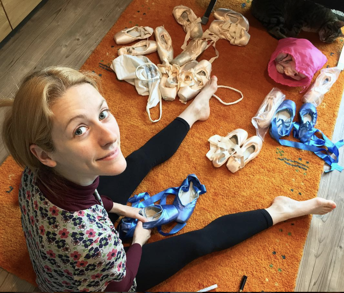 Alessia with her multi-coloured ballet pointe slippers.