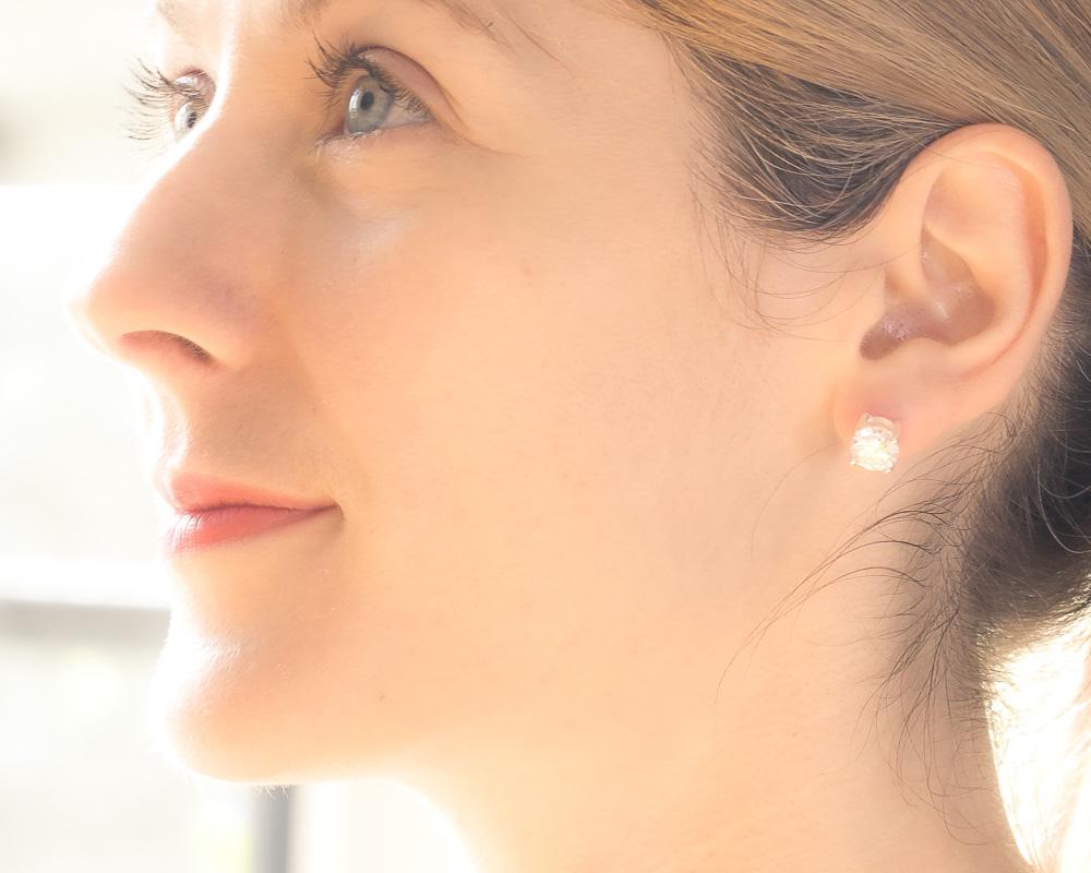 Silver Diamond Round Cut Stud Earrings - 1 Carat each