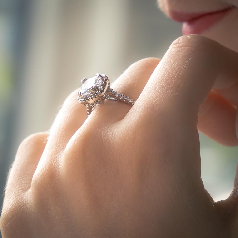 Platinum Plated Silver Round Cut Diamond Square Halo Ring - 2 Carat Main Stone