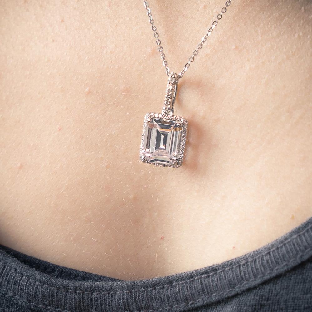 Silver Diamond Emerald Halo Pendant