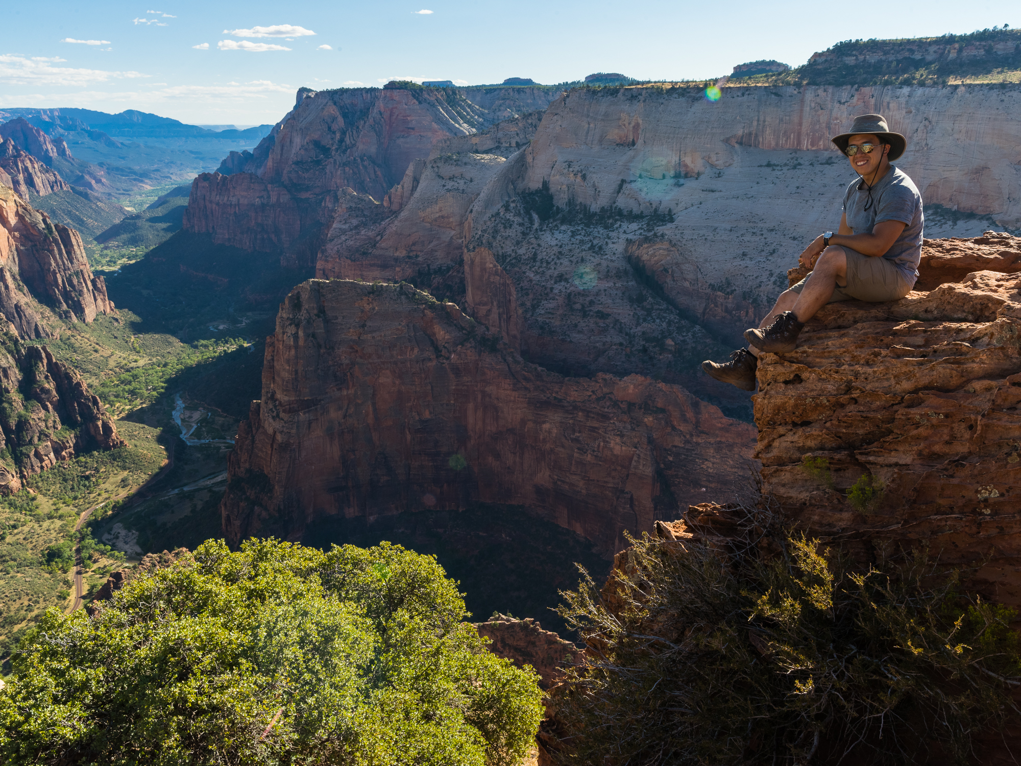 A 12 second timer and very careful rock hopping resulted in this photo at Observation Point in Zion National Park!