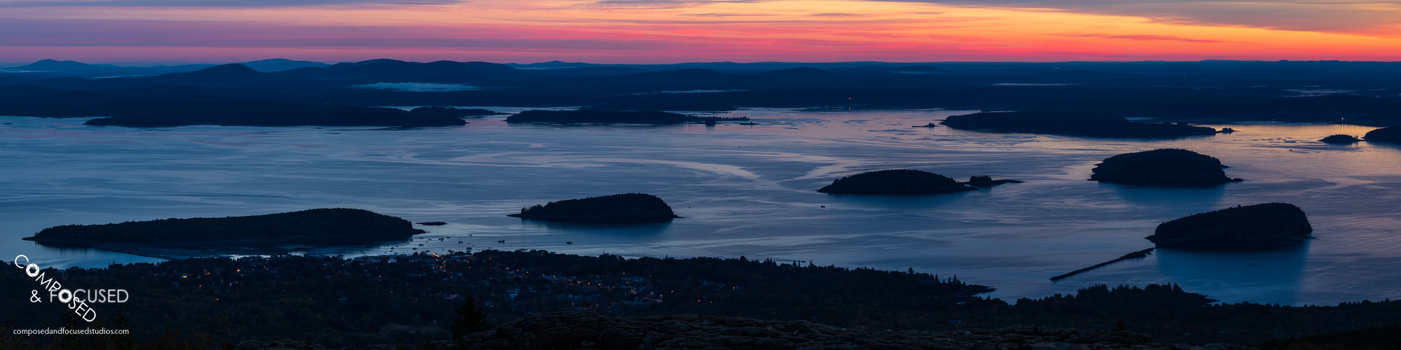 Sunrise over Bar Harbor, Maine