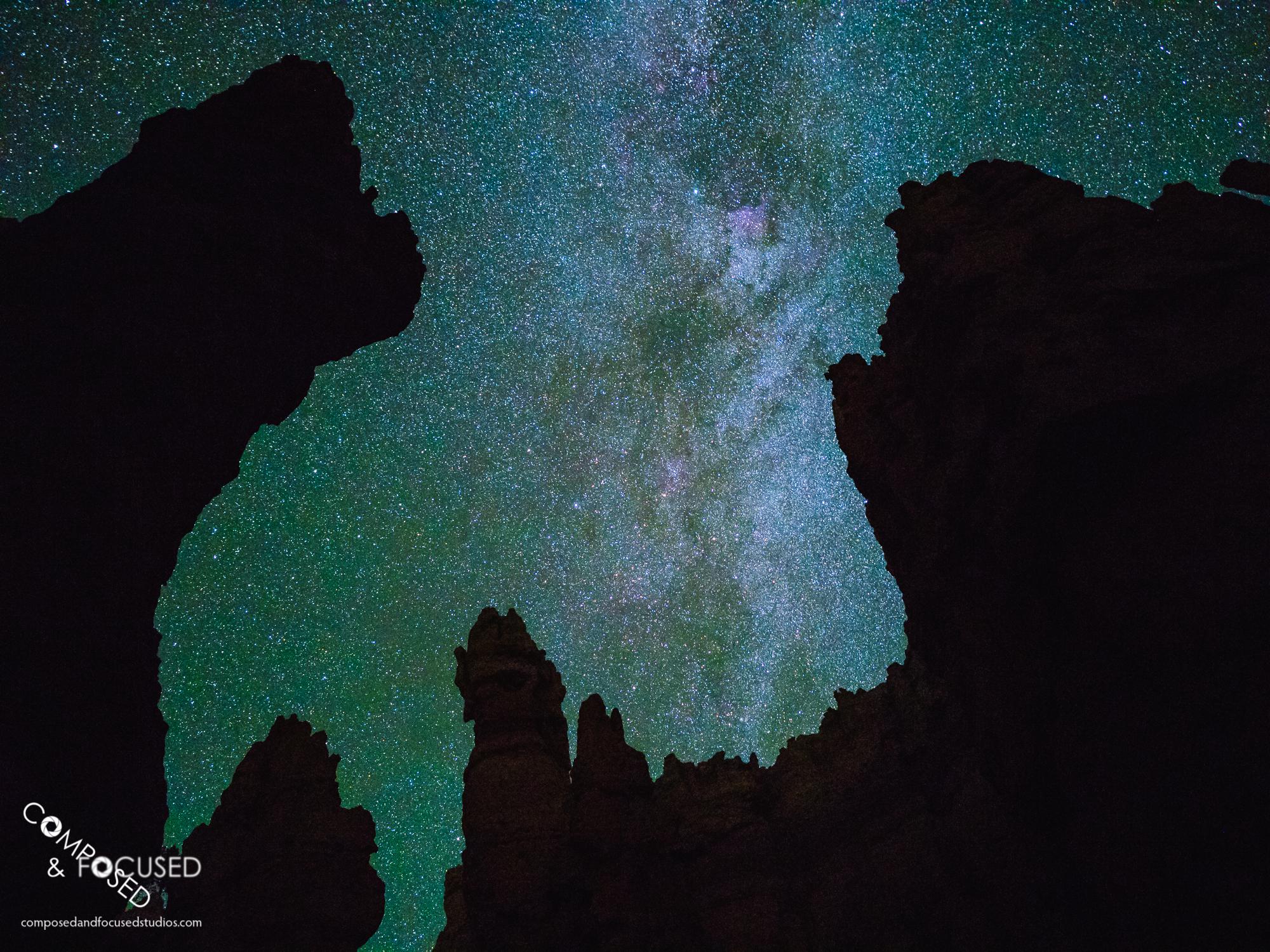Milky Way through Bryce Canyon Hoodoos