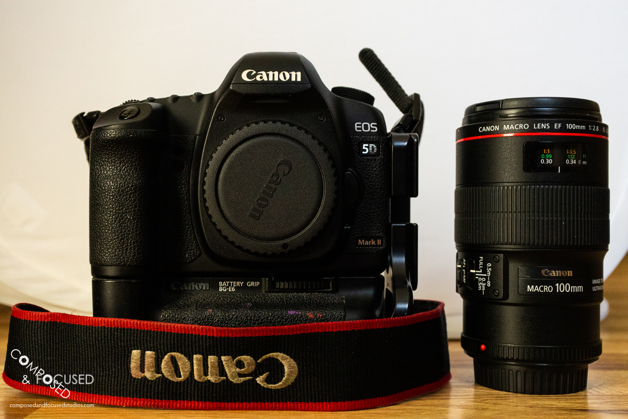My gripped 5D Mark II with 100mm Macro f/2.8L IS (one of my favorite lenses!)
