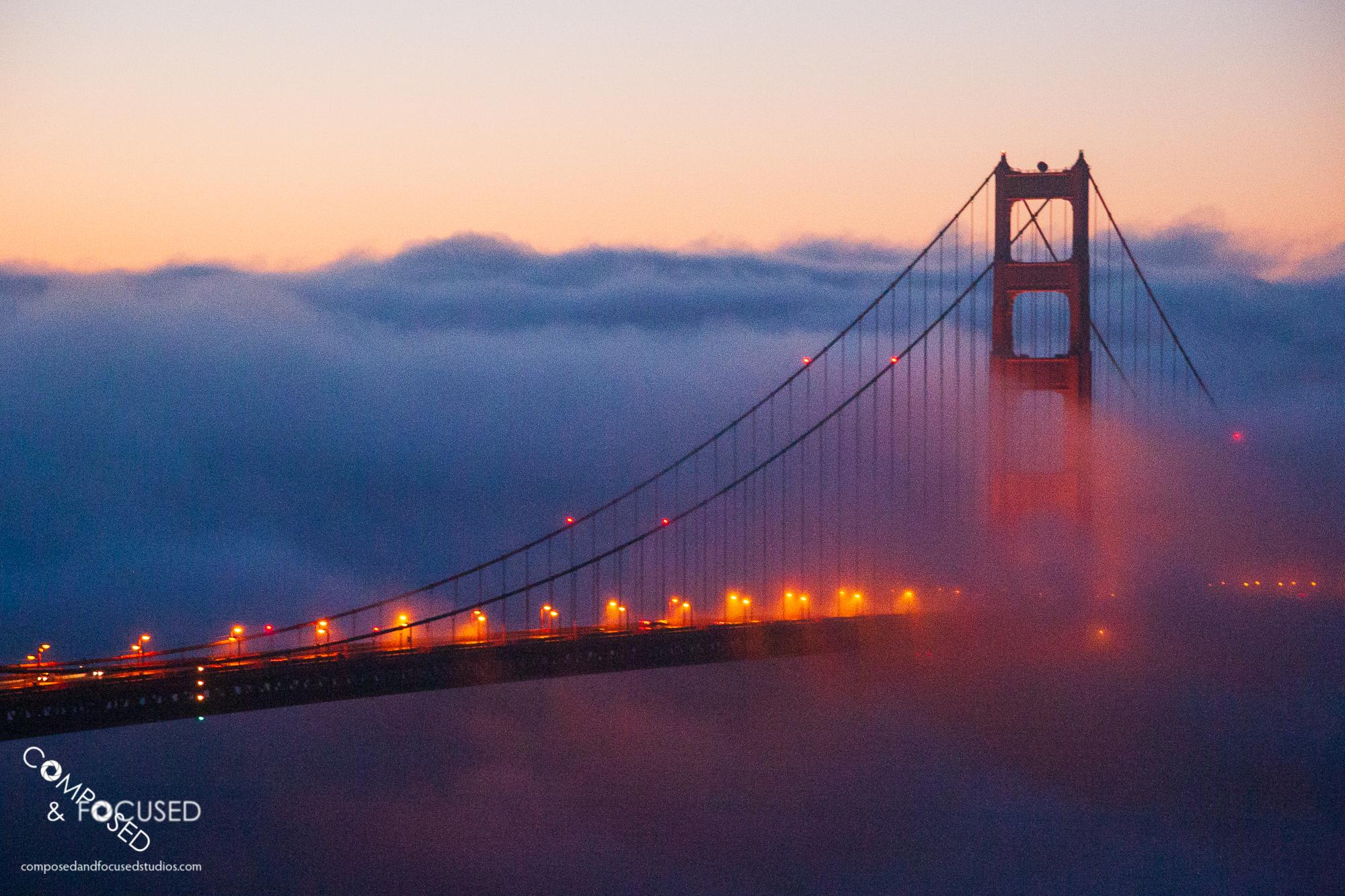 Foggy Sunrise on Golden Gate Bridge