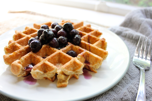 Blueberry waffle with fork