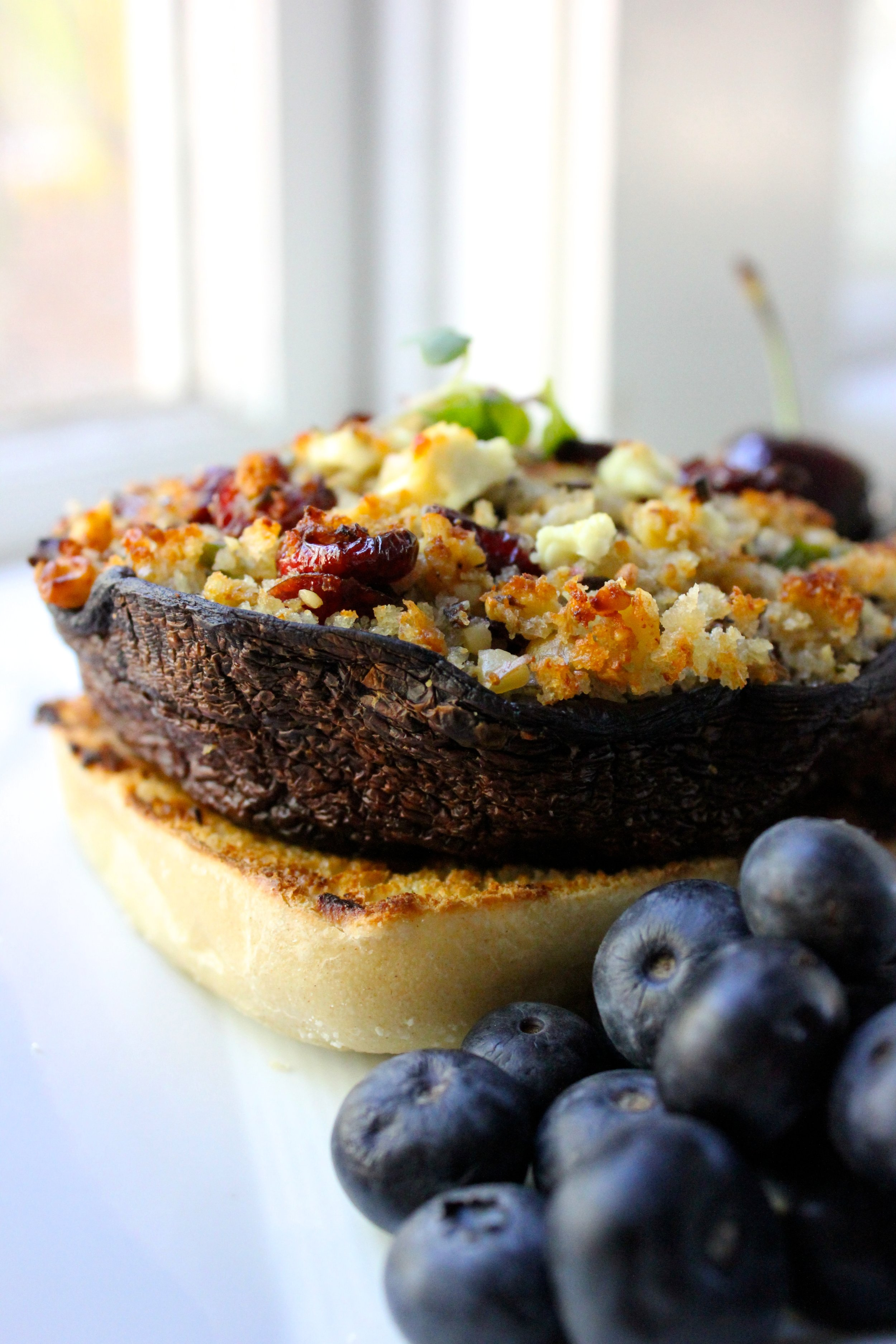 stuffed blueberry portobello burger side view