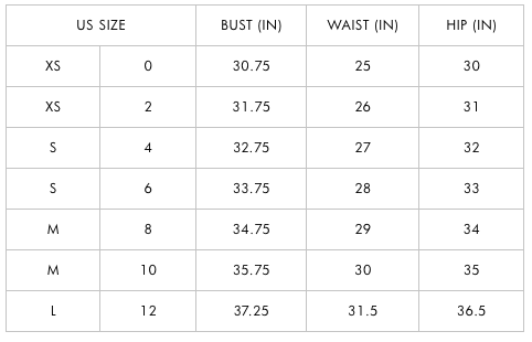 ALICE AND OLIVIA CLOTHING SIZE GUIDE