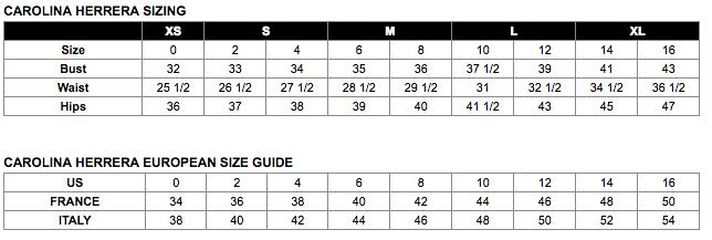 Carolina Herrera Size Chart